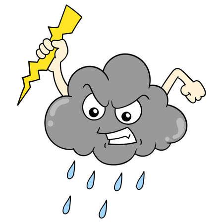 Evil cloud holding lightning and heavy rain, vector illustration art. doodle icon image kawaii. Stock Illustratie