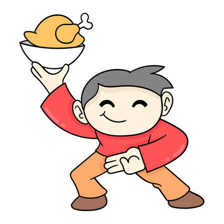 chinese man waiter is serving chicken food, vector illustration art. doodle icon image kawaii.