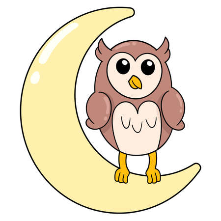 owl perched on the crescent moon at night, vector illustration art. doodle icon image kawaii.