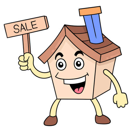 house for sale holding a bulletin board, vector illustration art. doodle icon image kawaii.