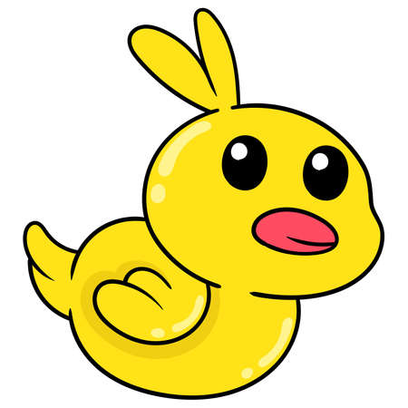cute yellow duckling, vector illustration art. doodle icon image kawaii. Stock Illustratie