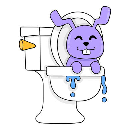 purple rabbit emerges from the water closet, vector illustration art. doodle icon image kawaii.