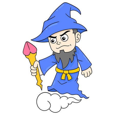 old witch with long beard flies holding magic wand, vector illustration art. doodle icon image kawaii.