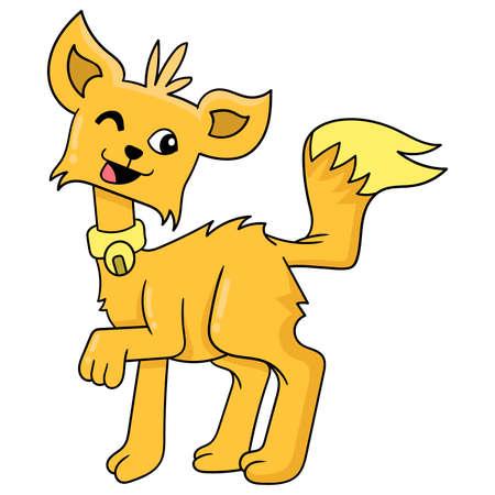 friendly pet dog wink, vector illustration art. doodle icon image kawaii.