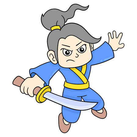 ninja is carrying a sharp sword ready to fight, vector illustration art. doodle icon image kawaii.