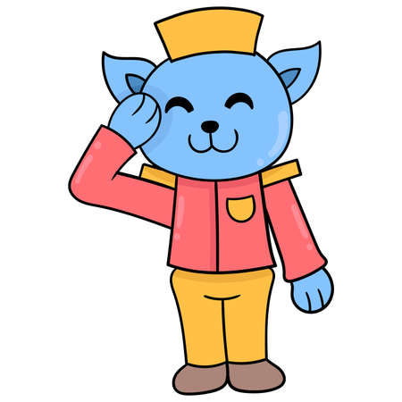 bellboy cat welcomes hotel visitors ready to serve, vector illustration art. doodle icon image kawaii. Stock Illustratie