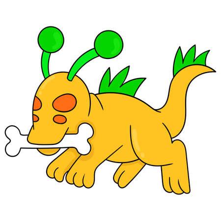 alien dog is running bone, vector illustration art. doodle icon image kawaii.