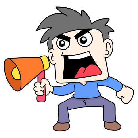 boy carrying a megaphone shouting an announcement, vector illustration art. doodle icon image kawaii.