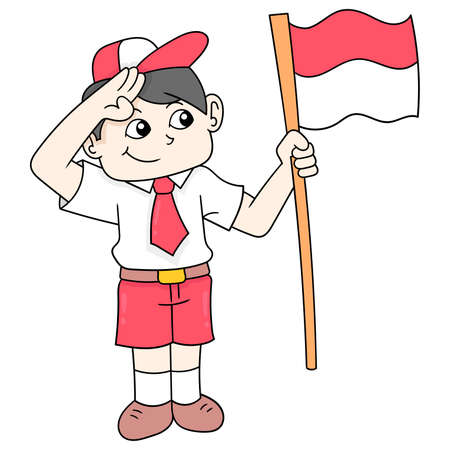Elementary school boy celebrating Indonesian independence day carrying the red and white flag, vector illustration art. doodle icon image kawaii.