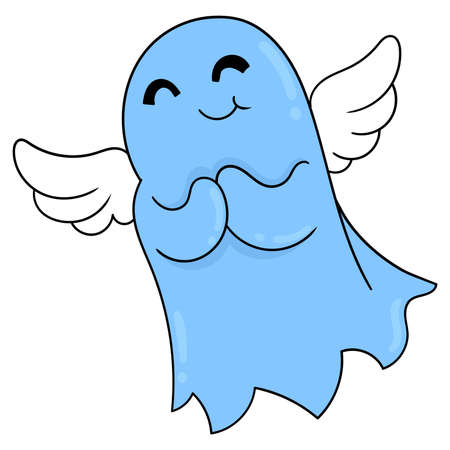 spirit ghosts fly into the sky happily, vector illustration art. doodle icon image kawaii. Stock Illustratie