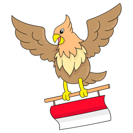 Garuda, the symbol of the Indonesian state, is flying with the red and white flag, vector illustration art. doodle icon image kawaii.