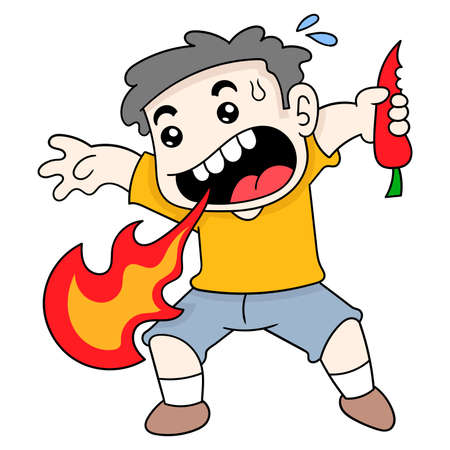 boy spouts fire because he eats super spicy chili, vector illustration art. doodle icon image kawaii.