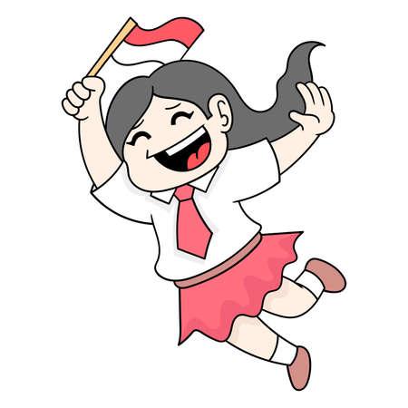 elementary school girls celebrating indonesian independence day, vector illustration art. doodle icon image kawaii.