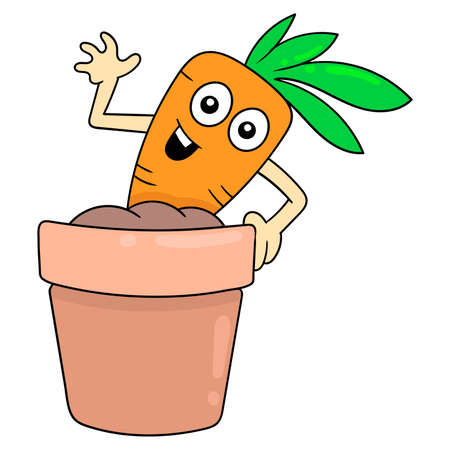 fresh carrot vegetables being grown in a pot, vector illustration art. doodle icon image kawaii.