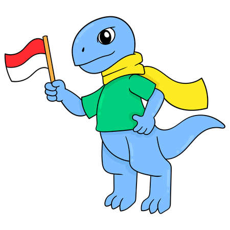 Komodo dragons celebrate Indonesia independence, vector illustration art. doodle icon image kawaii.