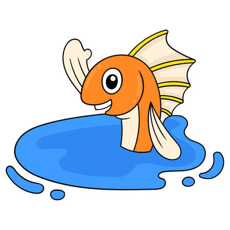 happy fish swimming in fresh water pond, vector illustration art. doodle icon image kawaii.
