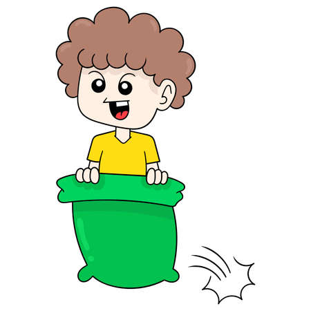boy is playing hiding in the sack, vector illustration art. doodle icon image kawaii. Stock Illustratie