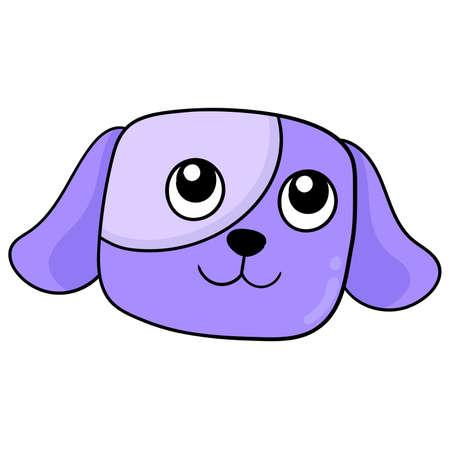 cute faced purple puppy head pet, vector illustration carton emoticon. doodle icon drawing Stock Illustratie