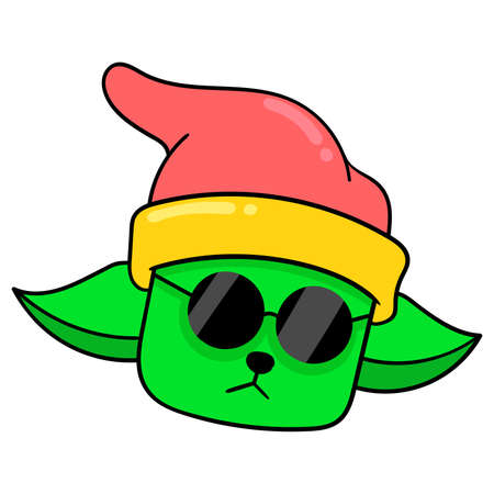 cat head wearing a beanie hat with sunglasses, vector illustration carton emoticon. doodle icon drawing