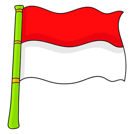indonesian flag red white. cartoon emoticon. doodle icon drawing, vector illustration