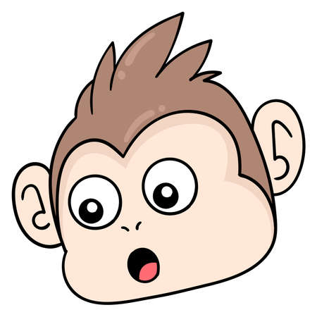 surprised monkey head gawking, vector illustration carton emoticon. doodle icon drawing