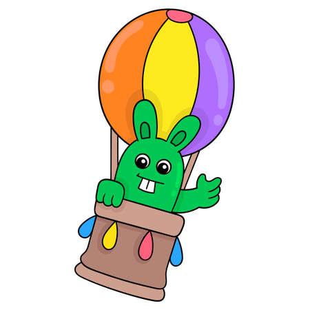 Rabbit riding a hot air balloon flying into the sky, vector illustration art. doodle icon image kawaii.