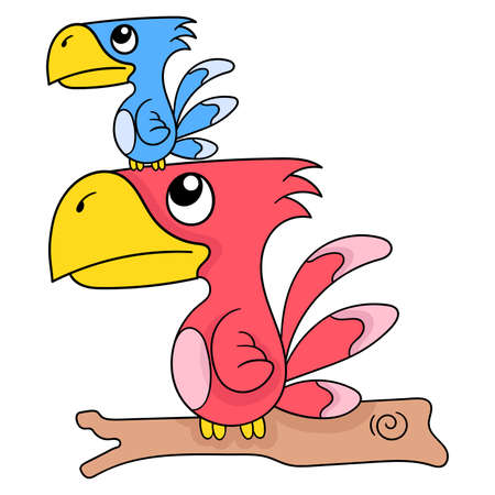 a parrot and its cubs are perching on a tree branch, vector illustration art. doodle icon image kawaii. Stock Illustratie