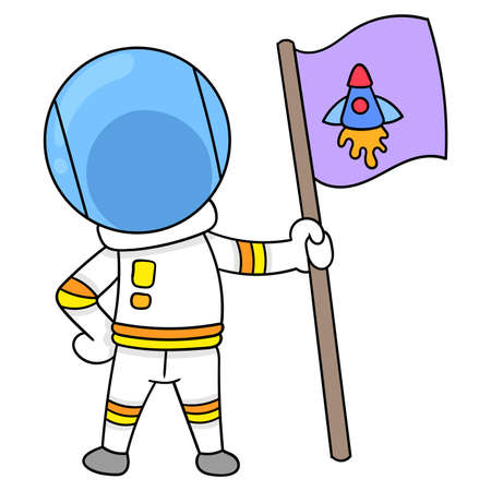 astronaut carrying a flag exploring the moon, vector illustration art. doodle icon image kawaii.