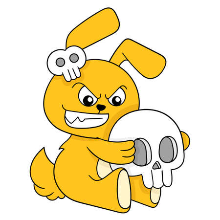 yellow bunny is dressed in halloween carrying a spooky skull, vector illustration art. doodle icon image kawaii. Stock Illustratie