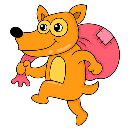 the weasel thief walks sneakily carrying a sack, vector illustration art. doodle icon image kawaii. Stock Illustratie