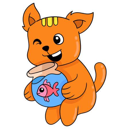 orange cat sitting hugging an aquarium filled with her pet betta, vector illustration art. doodle icon image kawaii.