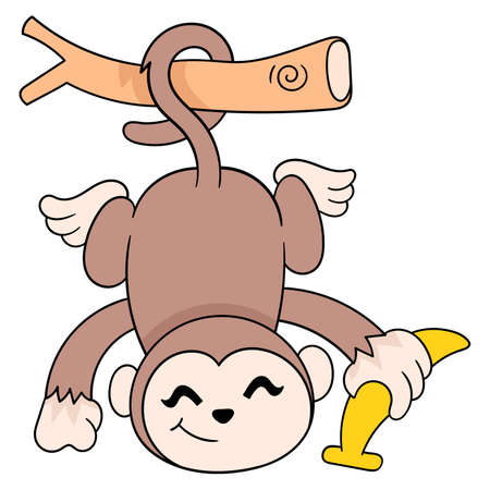 monkeys hanging happily carrying bananas, vector illustration art. doodle icon image kawaii.