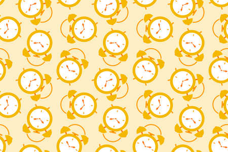 vector illustration golden clock alarm time repeat seamless pattern doodle cartoon style. Great for fabric packaging wallpaper