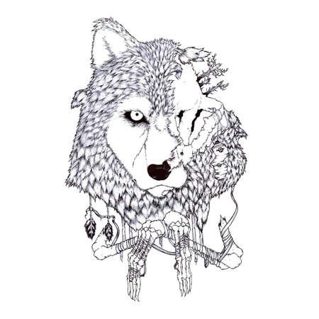 wolf half alive skull illustration concept artwork Ilustración de vector