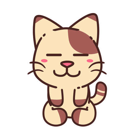Cute Adorable Happy Brown Sleep Cozy Relax Cat Flat Design Sticker Isolated vector illustration