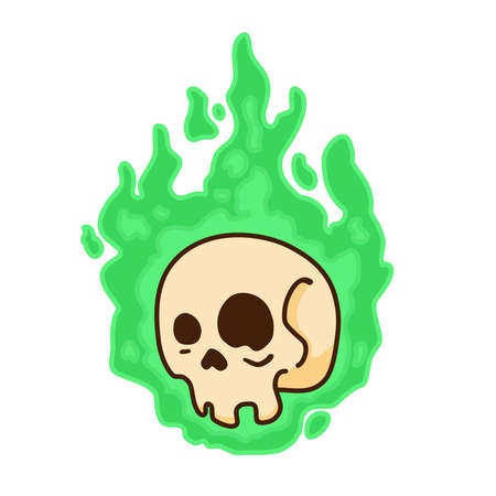 Halloween Character Simple Drawn Skull on Green Fire Isolated on a White Background Illusztráció