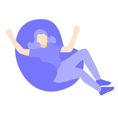 Happy young woman relaxing sit on lounge soft bean bag chair or the sacco chair vector design illustration. Purple people character cartoon 向量圖像