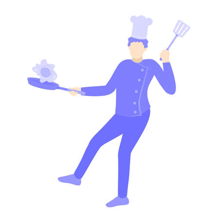 a chef is cooking egg vector cartoon design illustration. Purple people character
