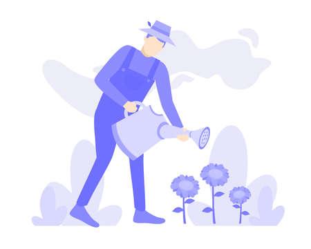man watering sunflower plants vector design illustration. Purple people character cartoon