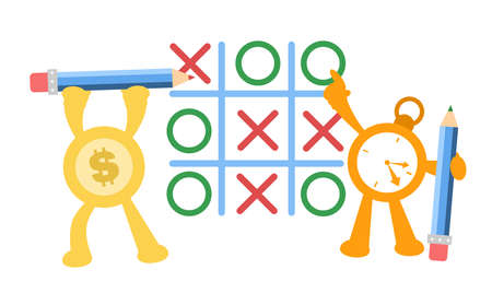 cartoon gold money dollar economy and time clock play tic tac toe game vector illustration flat design style