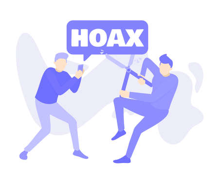 two men are at war with false news and hoax information. Purple people cartoon character vector illustration flat design. 版權商用圖片 - 156261821