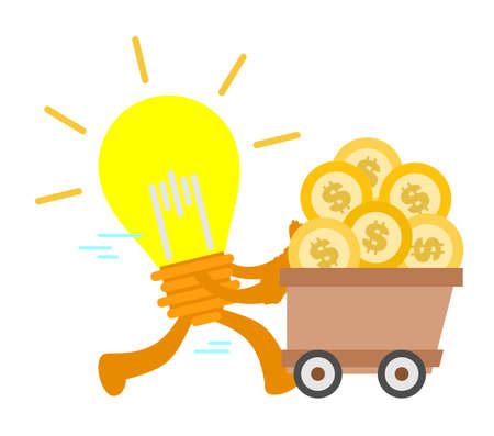 cartoon lamp idea electric and gold coin money dollar economy cart doodle vector illustration flat design style