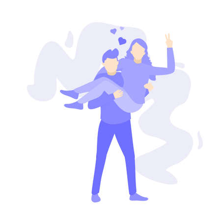 man carrying woman. This illustration depicts a dating couple. Purple people character vector illustration, flat design.
