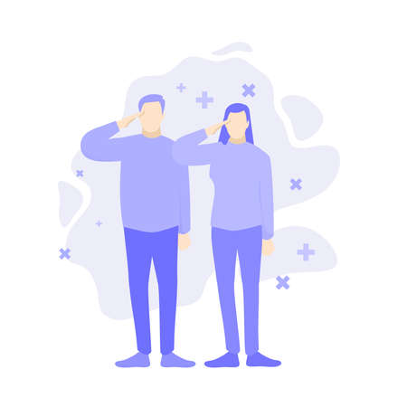 Man and woman salute respect gesture. Purple people character vector illustration flat design. Ilustrace