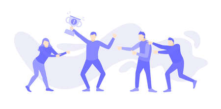 A man holding a trophy and his work team congratulates him cartoon doodle. Purple people character vector illustration flat design.