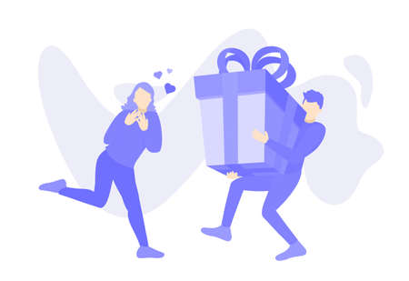 man gives a large gift box to his girlfriend people cartoon doodle purple illustration series