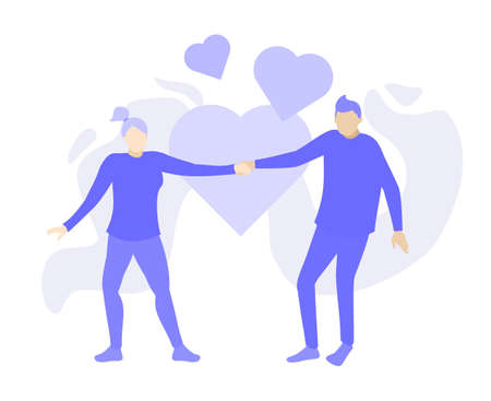 man and woman fall in love cartoon doodle. Purple people character vector illustration flat design.