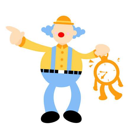 clown stress out for clock time deadline schedule cartoon doodle vector illustration flat design style Ilustración de vector