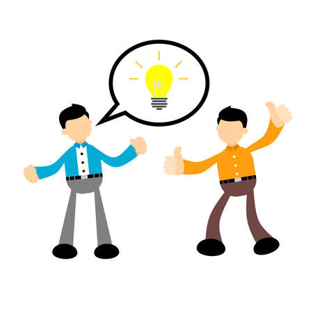 businessman worker with pointing to the bulb cartoon doodle. Idea concept flat design style vector illustration