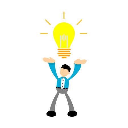 businessman worker with pointing to the bulb cartoon doodle. Idea concept flat design cartoon style vector illustration